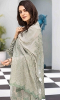 Chiffon Embroidered Front Chiffon Embroidered Extension for Front Chiffon Embroidered Back Chiffon Embroidered Sleeves Organza Embroidered Border for Front and Back Organza Embroidered Border for Sleeves Chiffon Dyed Dupatta with Embroidered Pallu Plain Trouser