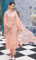 Chiffon Embroidered Front Chiffon Extension for Front Chiffon Embroidered Back Chiffon Embroidered Sleeves Organza Embroidered Border for Front and Back Organza Embroidered Border for Sleeves Chiffon Embroidered Dupatta Chiffon Embroidered Pallu for Dupatta Plain Trouser