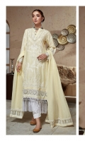 Emboss Lawn Embroidered Front Emboss Lawn Embroidered Back Emboss Lawn Embroidered Sleeves Organza Embroidered Border For Front And Back Organza Embroidered Border For Sleeves Organza Embroidered Pallu Emboss Thin Lawn Dupatta Plain Trouser