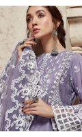 Shifley Lawn Embroidered Front Shifley Lawn Back Lawn Embroidered Sleeves Organza Print Embroidered Patch For Front Organza Print Embroidered Border For Back Organza Embroidered Border For Sleeves Net Embroidered Dupatta Plain Trouser