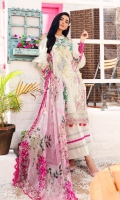 Digital printed embroidered shirt3.0 m Embroidered organza border1.0 m Dyed cambric trousers2.5 m Digital crinkle chiffon dupatta2.5 m