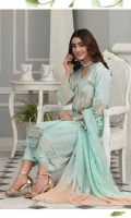 Lawn Brosha Embroidery Shirt Bamber Chifone Chifli Dupata With Embroidery Plain Trouser