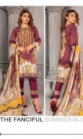 Lawn Embroidered Front  Printed Back & Sleeves  Printed Chiffon Dupatta  Dyed Trouser+Patch