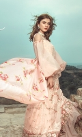 Embroidered front on slub lawn  Embroidered back on jacquard  Embroidered sleeves on jacquard  Embroidered border on organza  Digital printed trouser  Digital printed dupatta with embroidered pallu and boarders