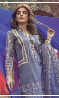 Embroidered front on digital printed lawn  Digital printed back on lawn  Digital printed sleeves on lawn  Embroidered neck patti  Dyed trouser Embroidered borders for trouser  Organza dyed embroidered dupatta with pallu borders