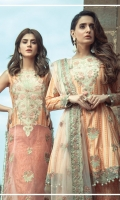 Embroidered front on digital printed lawn  Digital printed back on lawn  Embroidered sleeves on digital printed lawn  Embroidered border on organza  Digital printed trouser with embroidered borders  Net dyed embroidered dupatta with embroidered borders  Screen printed pallu on silk
