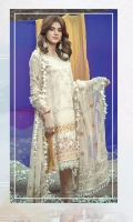 Embroidered front on digital printed slub lawn  Digital printed back on slub lawn  Embroidered sleeves on digital printed slub lawn  Embroidered border on organza  Embroidered Chiffon dupatta with embroidered borders  Embroidered trouser  Embroidered border for trouser