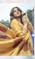 Embroidered front on digital printed lawn  Digital printed back on lawn  Digital printed sleeves on lawn  Embroidered patti on organza  Screen printed silk dupatta with embroidered borders  Jacquard trouser