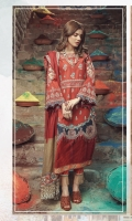 Embroidered front on digital printed lawn  Digital printed back  Embroidered sleeves on digital printed lawn  Embroidered applique boarder for front  Embroidered neckline on organza  Gold screen printed trouser  Embroidered border on organza  Cotton net dupatta with embroidered borders