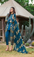 Embroidered Shirt Front 1 Mtr Embroidered Shirt Back 1 Mtr Embroidered Sleeves 0.5 Mtr Embroidered Chiffon Dupatta 2.5 Mtr Embroidered Daman 2.5 Mtr Inner 2 Yard Trouser 2.5 Yard