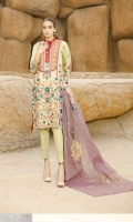 Three Piece Cotton Jacquard Fancy Embroidered Suit