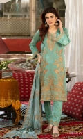 Shirt: - Embroidered Swiss Voil Dupatta: - Embroidered Chiffon Trouser: - Dyed with Embroidery