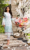 Digitally Printed Pure Silk Dupatta Embroidered (Laser Cut) Lawn Front Digitally Printed Back & Sleeves Plain Trouser 2 Embroidered patches