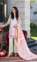 Embroidered Cotton Net Dupatta Embroidered Lawn Front Digitally Printed Back & Sleeves Jacquard Trouser Embroidered Border