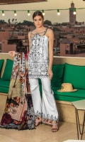- Embroidered jacquard front - Jacquard back and sleeves  - Printed medium silk dupatta - Printed trouser -  Embroidered border for front, back and sleeves