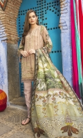 - Fully embroidered printed front - Printed back and sleeves - 1 embroidered border - Printed medium silk dupatta - Dyed trouser
