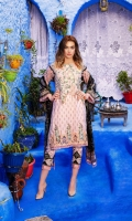- Printed front with embroidered neckline  - Printed back and sleeves  - Printed pure chiffon dupatta  - Embroidered border  - Printed trouser