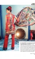 Digital Printed Back & Sleeves Embroidered Front & Neckline Embroidered Border Digitally Printed Pure Chiffon Dupatta Digital Printed Trouser
