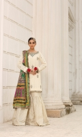 Pure embroidered chiffon shirt with adda work and embellishment   Charmeuse silk block print dupatta