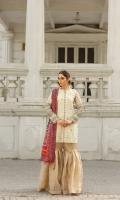 Zaree tissue embroidered shirt with adda work and embellishment.  Charmeuse silk block print dupatta