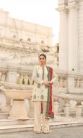 Zaree tissue embroidered shirt with adda work and embellishment  Charmeuse silk block print dupatta