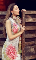 Embroidered front   Digital print back and sleeves  Digital print pure chiffon dupata  Dyed trousers  Embroidered flower patch