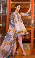 Printed Embroidered Fine Lawn Shirt  Printed Chiffon Dupatta  Plain Dyed Trouser