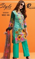 - Lawn Printed Embroidered Shirt - Printed Soft Net Dupatta - Dyed Trouser