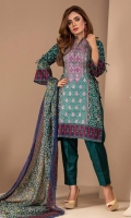 PRINTED & EMBROIDERY FINE LAWN SHIRT WITH PRINTED CHIFOON DUPATTA WITH PLAIN TROUSER