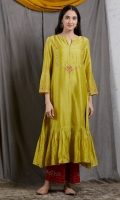 SOLID YELLOW EMBROIDERED ANARKALI WITH PAJAMA