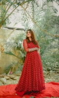 RED MIRROR WORK EMBELLISHED LONG FLARED CHIFFON ANARKALI SET