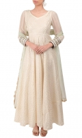 IVORY LONG FLARED ANARKALI WITH LACED SLEEVES