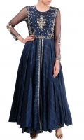 NAVY BLUE EMBELLISHED A-LINE ANARKALI WITH SET