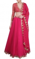 SOLID PINK LONG FLARED LEHENGA WITH EMBELLISHED CHOLI AND DUPATTA