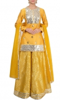SOLID YELLOW MIRROR EMBELLISHED KURTA WITH LEHENGE AND DUPATTA