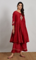 RED EMBROIDERED LONG FLARED ANARKALI WITH PAJAMA