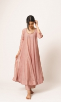 SOLID PINK ANARKALI KURTA WITH PAJAMA
