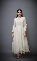 SOLID WHITE EMBROIDERED ANARKALI KURTA WITH PAJAMA