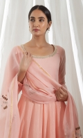 SOLID PINK ANARKALI KURTA WITH DHOTI PAJAMA