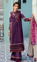 Front: Embroidered shiffli lawn center panel and side panels(2) Back: Digital printed lawn Sleeves: Dyed lawn Pants: Dyed cambric Dupatta: Digital printed chiffon Embroideries: 1) Front Border 2) Sleeve Border