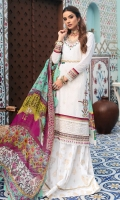 Front: Embroidered shiffli lawn Back: Digitial printed lawn Sleeves: Embroidered schiffli lawn Pants: Printed cambric Dupatta: Digital printed chiffon Embroideries: 1) Pani neckline 2) Pani border for daman and sleeves 3) Pani patches for front(2)