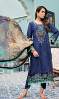 Front: Embroidered shiffli lawn Back: Digital printed lawn Sleeves: Embroidered schiffli lawn Pants: Dyed cambric Dupatta: Digital printed chiffon Embroideries: 1) Neckline 2) Ghera border 3) Silk patti for ghera and sleeves