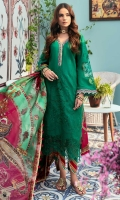 Front: Embroidered shiffli lawn center panel and side panels (2) Back: Digital printed lawn Sleeves: Embroidered schiffli lawn Pants: Printed cambric Dupatta: Digital printed silk Embroideries: 1) Patti for neckline and sleeves 2) Ghera Border 3) Sleeves patches(2)