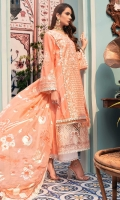 Front: Embroidered lawn center panel Embroidered schiffli side panels (2) Back: Dyed lawn Sleeves: Embroidered schiffli lawn Pants: Printed cambric Dupatta: Printed silk Embroideries: 1) Silk neckline 2) Silk sleeve patches(2) 3) Ghera border