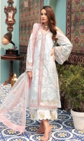 Front: Embroidered shiffli lawn Panels (2) Back: Dyed lawn Sleeves: Embroidered shiffli lawn Pants: Digital printed cambric Dupatta: Embroidered net Embroideries: 1) Front patches(2) 2) Front patti