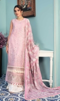 Front: Embroidered shiffli lawn center panel (1) Embroidered shiffli lawn side panels (2) Back: Dyed lawn Sleeves: Embroidered shiffli lawn Pants: Printed cambric Dupatta: Printed Silk Embroideries: 1) Front Border 2) Sleeve patti