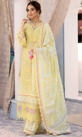 Front: Embroidered schiffli lawn Back: Dyed lawn Sleeves: Embroidered schiffli lawn Pants: Digital printed cambric Dupatta: Printed silk Embroideries: 1) Ghera border 2) Sleeves patti 3) Neckline