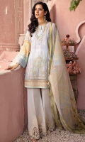 Front: Embroidered lawn center panel and side panels Back:Digital printed lawn Sleeves: Digital printed lawn Pants: Dyed cambric Dupatta: Digital printed chiffon Embroideries: 1) Border for pants