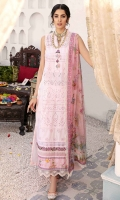 Front: Embroidered schiffli lawn center panel and side panels Back: Dyed lawn Sleeves: Embroidered schiffli lawn Pants: Dyed cambric Dupatta: Digital printed chiffon Embroideries: 1) Ghera patti 2) Schiffli border 3) Scalop border Border: Digital printed lawn border