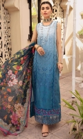 Front: Embroidered schiffli ombre lawn center panel and side panels Back:Digital ombre lawn Sleeves: Embroidered shiffli ombre lawn Pants: Dyed cambric Dupatta: Digital printed chiffon Embroideries: 1) Ghera and sleeves border 2) Ghera and sleeves Patti